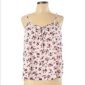 Hollister Floral Lace Up Tank Top White Small